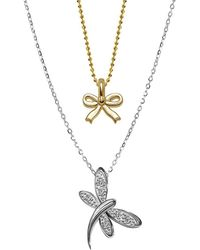 Alex Woo - 14k White Gold Dragonfly And Mini Yellow Gold Bow Pendant Necklace - Lyst