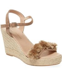 Saks Fifth Avenue - Suede Pom-pom Wedge Sandals - Lyst