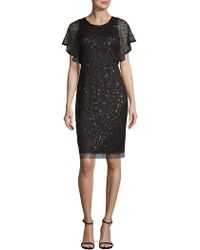 Adrianna Papell - Sequined Sheath Dress - Lyst