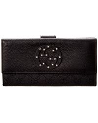 Gucci Black GG Canvas & Leather Stud Wallet