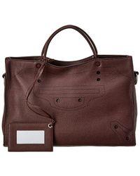 Balenciaga Blackout City Aj Medium Leather Shoulder Bag