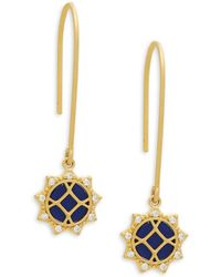 Freida Rothman - Cubic Zirconia, Lapis And Sterling Silver Drop Earrings - Lyst