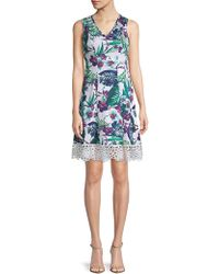 Donna Ricco - Printed Sleeveless Dress - Lyst
