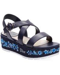 Dior - Denim Leather Wedge Sandal - Lyst