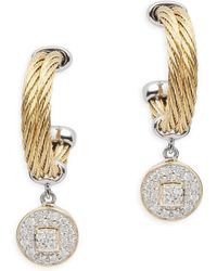 Alor - Diamond, 18k Gold & Stainless Steel Circle Dangle & Drop Earrings - Lyst