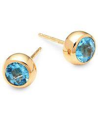 Anzie - Swiss Blue Topaz And 14k Gold Stud Earrings - Lyst