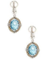 Effy - 18k Gold & Sterling Silver Topaz Drop Earrings - Lyst