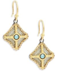 Armenta - Old World Champagne Diamond, Blue Turquoise, Rainbow Moonstone & 18k Goldplated Sterling Silver Drop Earrings - Lyst