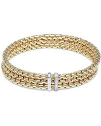 Chimento - Stretch Spring Diamond, 18k Yellow Gold & White Gold Bangle Bracelet - Lyst