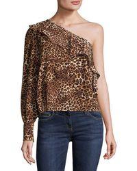 Lea & Viola - One Shoulder Leopard-print Top - Lyst