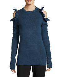 Saks Fifth Avenue - Ruffled Cold Shoulder Sweater - Lyst
