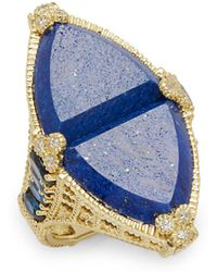 Judith Ripka | Diamond, Lapis & 18k Yellow Gold Ring | Lyst