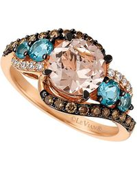 Le Vian - Chocolatier® Strawberry Gold® & Ocean Blue Topaztm Interlocking Ring - Lyst