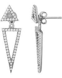Adornia Silver Crystal Triangle Earring Jacket