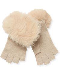 Sofia Cashmere - Cashmere & Fox Fur Fingerless Gloves - Lyst