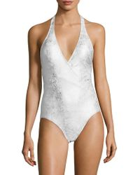 Carmen Marc Valvo - Halter Neck One Piece Swimsuit - Lyst