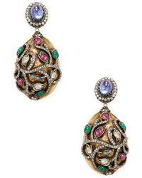 Amrapali - Ruby, Emerald, Tanzanite And Diamond Earrings - Lyst
