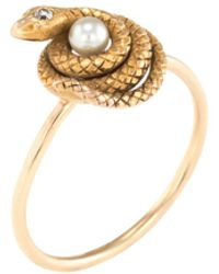Estate Fine Jewelry - 14k Yellow Gold, Diamond & Pearl Victorian Coiled Snake Ring - Lyst