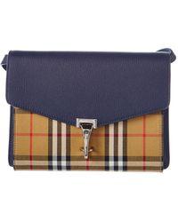 9c58b1655b33 Burberry - Small Macken Vintage Check   Leather Crossbody - Lyst