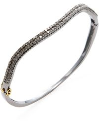 Karma Jewels - Silver & 1.27 Total Ct. Diamond Wave Bangle Bracelet - Lyst