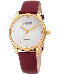 August Steiner - Women's Diamond Marker Leather Watch - Lyst