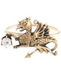Estate Fine Jewelry - 10k Yellow Gold & Diamond Victorian Conversion Griffin Ring - Lyst