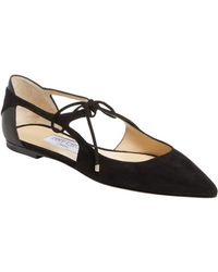 Jimmy Choo - Vanessa Suede And Leather Flats - Lyst