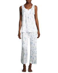 Midnight By Carole Hochman - Capri Cotton Striped Pyjama Set - Lyst