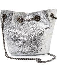 Deux Lux - Crinkle Metallic Crossbody Bucket Bag - Lyst