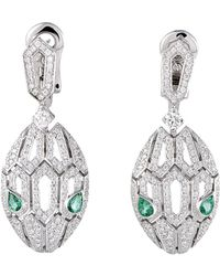 BVLGARI - Certified Serpenti 18k Diamond & Emerald Drop Earrings - Lyst