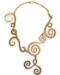 Chanel - Gold Tone Metal Textured Swirl Bib Necklace - Lyst