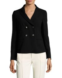 Armani - Wool Micro Check Double Breasted Blazer - Lyst
