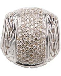 John Hardy - Classic Chain Pave Diamond & Silver Pendant - Lyst