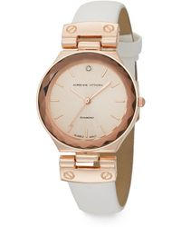 Adrienne Vittadini - Diamond 0.01 Tcw Diamond Rose Goldtone Strap Watch - Lyst
