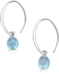 Saks Fifth Avenue - Blue Topaz & Sterling Silver Arc Earrings - Lyst