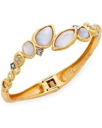 Alexis Bittar - Elements Iolite, Mother-of-pearl & Crystal Doublet Rocky Bypass Bracelet - Lyst