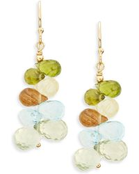 Eva Hanusova - Gem Rush Gold Ritule Quartz, Blue Topaz & Green Garnet Drop Earrings - Lyst