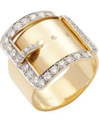 Janis Savitt | 18k Yellow Gold & 1.06 Total Ct. Diamond Buckle Ring | Lyst