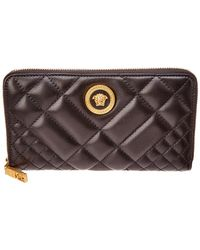 e4c2e0f13a Versace - Medusa Tribute Quilted Leather Zip Around Wallet - Lyst