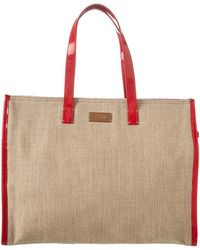 003b06f3b5 Fendi - Beige Canvas   Red Leather Tote - Lyst