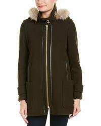 Trina Turk - Allyson Leather-trim Wool-blend Hooded Duffle Coat - Lyst