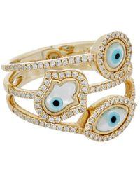 Diana M. Jewels - . Fine Jewelry 14k 0.37 Ct. Tw. Diamond Evil Eye & Hamsa Ring - Lyst