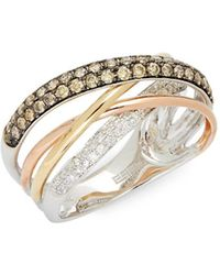 Effy - 14k Tri-colored Gold & Diamond Crossover Ring - Lyst