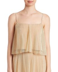 ABS By Allen Schwartz - Metallic Tulle Pleated Cropped Top - Lyst