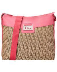 Dior - Brown Canvas & Pink Leather Shoulder Bag - Lyst