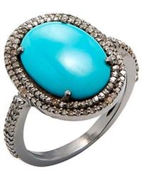 Adornia - Fine Jewellery Silver 6.70 Ct. Tw. Diamond Turquoise Ring - Lyst