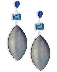 Stephen Dweck - Mother-of-pearl, London Blue Topaz, Crystal, Lapis Lazuli, Quartz & Sterling Silver Drop Earrings - Lyst