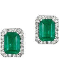 Effy - Brasilica 14 Kt. White Gold Emerald And Diamond Earrings - Lyst