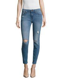 Hudson Jeans - Krista Distressed Skinny Jeans - Lyst