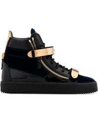 Giuseppe Zanotti - Velvet And Patent Leather High-top Sneaker Coby - Lyst